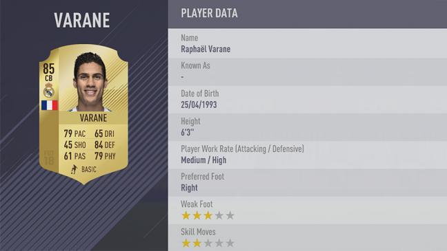 Carte Raphaël Varane  dans Fifa 18