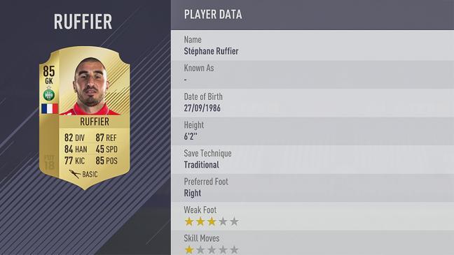 Carte Stéphane Ruffier  dans Fifa 18