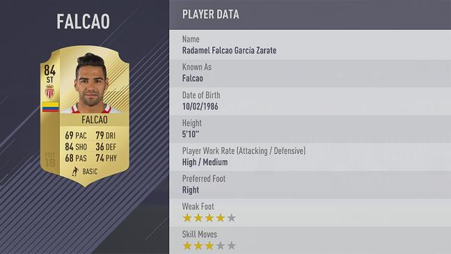 Carte Radamel Falcao dans Fifa 18