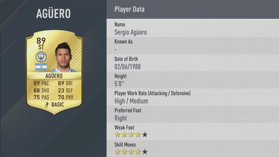 Carte Sergio Agüero dans Fifa 17