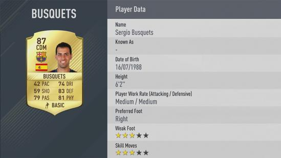 Carte Sergio Busquets dans Fifa 17