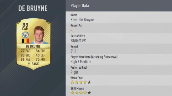 Carte Kevin De Bruyne dans Fifa 17