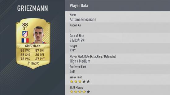 Carte Antoine Griezmann dans Fifa 17