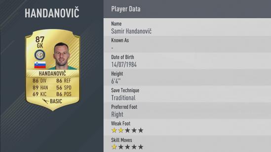 Carte Samir Handanovič dans Fifa 17