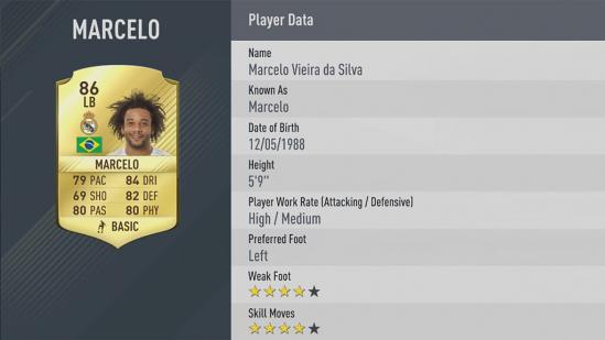 Carte Marcelo dans Fifa 17