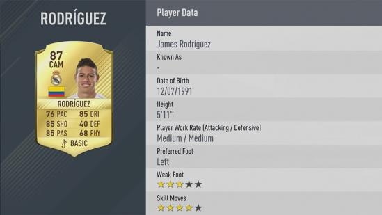 Carte James Rodriguez dans Fifa 17